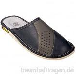 APREGGIO Hausschuhe Herren Pantoffeln Leich Natural 100% Leder Naturprodukt Handgefertigt Schwarz Fester Sohle Komfort Bequeme Weich