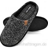 ONCAI Hausschuhe Herren Rückstellschaum Warme Streifen Pantoffeln Flauschig Plüsch Gefüttert Mit rutschfeste Gummisohle