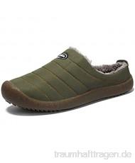 XXYANZI Herren Hausschuhe Damen Pantoffeln Winter Plüsch Wärme Gefüttert Gummisohle Slip On Schuhe Hausschuhe Khaki 48