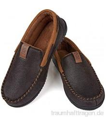 ZIZOR Hausschuhe Herren Slippers Wildleder Pantoffeln Bequeme Memory Schwamm Pad und Heimschuhe mit rutschfester Gummisohle im Innen- und Außenbereich