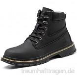 meng Sicherheitsschuhe Herren Arbeitsschuhe Damen Leicht Sportlich Atmungsaktiv Schutzschuhe Stahlkappe Sneaker (Color : Black  Size : 42)