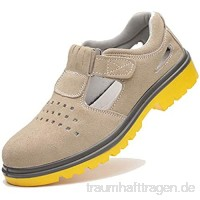 meng Sicherheitsschuhe Herren Arbeitsschuhe Herren Damen Leicht Sportlich Atmungsaktiv Schutzschuhe Mit Stahlkappen (Color : Khaki  Size : 37)
