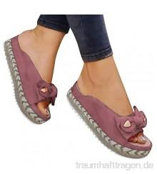Binggong Schlappen Damen Römische Schuhe Lässige Flache Sandalen Plateauschuhe Slip-Ons Gewebte Pantoletten Bequeme Atmungsaktiv Strandschuhe Bowknot Freizeitschuhe Slides