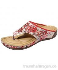 Damen Zehentrenner Bestickte Schuhe Stickerei Hausschuhe Slippers Beach Strandsandale Leicht Bequem Sommer Freizeitschuh