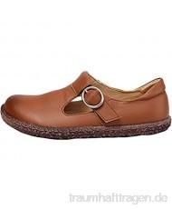 MatchLife Damen Retro Leder Flache Runden Schuhe