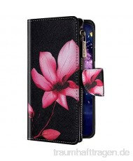 Uposao Kompatibel mit iPhone 7 Plus/iPhone 8 Plus Hülle Geldbörse mit Reißverschluss Handyhülle Bunt Retro Muster Klapphülle Flip Case Cover Schutzhülle Lederhülle Kartenfächer Magnet Pink Blumen