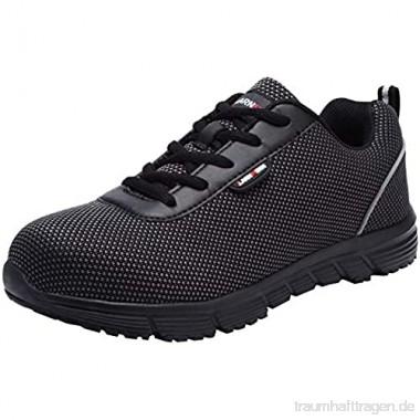 LARNMERN Sicherheitsschuhe Stahlkappe Herren SRC Anti Slip Arbeitsschuhe Anti Statische Industrie Schuhe (41 EU Schwarz)