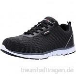 LARNMERN Sicherheitsschuhe Stahlkappe Herren  SRC Anti Slip Arbeitsschuhe Anti Statische Industrie Schuhe (43 EU  Schwarz)