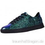 Deloito Mädchen Mode Laufschuhe Pailletten Normallack Turnschuhe Frauen Nachtclub Trend Wild Flache Sneaker Freizeit Sport Gym Schuhe