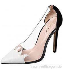 Schuhe Damen Mode Pointed Toe Pumps Farbabstimmung Transparent Single Stiletto