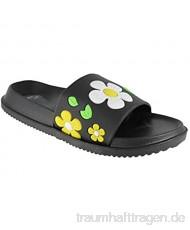 buyAzzo Flower Design Damen Hausschuhe | Schlappen Slipper Badeschuhe | Gartenschuhe Badelatschen | Saunaschuhe Blumenmotiv | Strand Sommerschuhe Fußbett | BA820