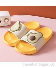 DCRZTY Dusch Hausschuhe Frauen Männer Sommer Hausschuhe Casual Sandalen Strandrutschen Cartoon Früchte Avocado Flip Flops rutschfeste Weiche Sohle Liebhaber Badezimmerschuhe