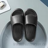 WUHUI Dusche Badeschuhe Schlappen rutschfest Pantoffeln  Sommer Slide Flip Flops Massage  Männliche Eva Badezimmer zu Hause rutschfeste weiche Gleitschuhe  Black_42-43