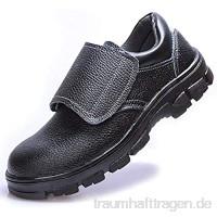 meng Arbeitsschuhe Herren Sicherheitsschuhe Damen Leicht Schutzschuhe Stahlkappe Sneaker Unisex (Color : Black  Size : 38)