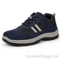meng Sicherheitsschuhe Herren Arbeitsschuhe Damen Leicht Sportlich Atmungsaktiv Schutzschuhe Stahlkappe Sneaker (Color : Blue  Size : 46)