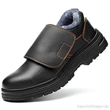 meng Sicherheitsschuhe Herren Arbeitsschuhe Herren Damen Leicht Sportlich Atmungsaktiv mit Stahlkappe (Color : Black Size : 45)
