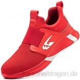 meng Sicherheitsschuhe Herren Arbeitsschuhe Herren Damen Leicht Sportlich Mit Stahlkappe (Color : Red  Size : 42)