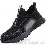 meng Sicherheitsschuhe Herren Arbeitsschuhe Herren Damen Leicht Sportlich mit Stahlkappe (Color : Black  Size : 44)