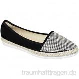 Saphir Boutique Jly041 Hudson Damen Freizeit Strass Front Wildlederimitat Flach Espadrilles Schuhe