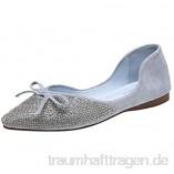Damen Geschlossene Ballerinas Spitz Flache Schuhe mit Strass und Schleife  Frauen Elegante Mokassins Loafer Bequeme Slipper Casual Slip-Ons Schöner Damenschuhe Celucke
