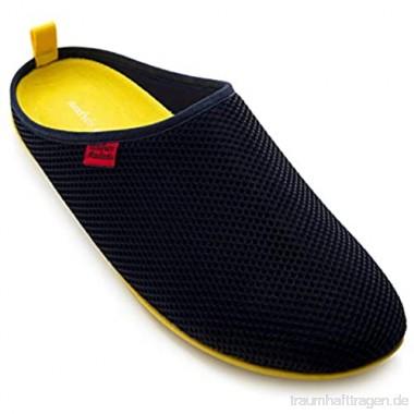 Andrés Machado - Unisex Hausschuhe für Damen/Herren – Sommer – Dynamic – Pantoffeln Slipper - atmungsaktive Netzstruktur – rutschfeste Gummisohle/herausnehmbares Fußbett - Navy/Gelb EU 45