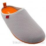 Andrés Machado - Unisex Hausschuhe für Damen/Herren – Sommer – Dynamic – Pantoffeln Slipper - atmungsaktive Netzstruktur – rutschfeste Gummisohle/herausnehmbares Fußbett - Grau/Orange EU 45