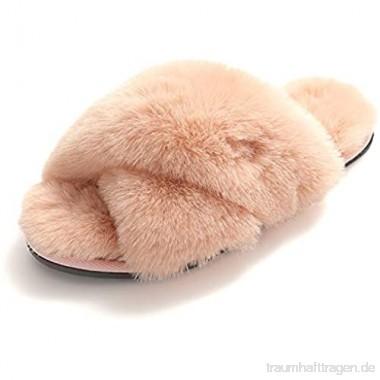 Damen Hausschuhe Pantoffeln Plüsch Fuzzy aus Kunstfell rutschfeste Fluff Zehentrenner Weiche Warme Fellhausschuhe für Indoor Outdoor