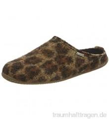Living Kitzbühel Damen Pantoffel Leopard mit Fußbett Hausschuh