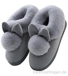 Minetom Damen Winter Baumwolle Pantoffeln Dickere Wärme Plüsch Kuschelige Hasenohren Home Hausschuhe Anti Rutsch Slippers