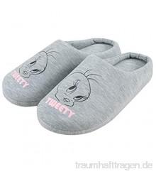 Tweety Hausschuhe für Damen  Grau  Frauen Pantoffeln Slipper  Looney Tunes