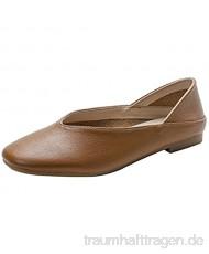 Haojue Mary Jane Damen-Schuhe knöchelhoch knackig runder Zehenbereich Slip-On-Halbschuhe langlebig Retro flacher Mund flache Kleiderschuhe? für die Arbeit (Farbe: Khaki Größe: 39 UK)