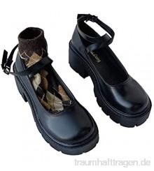 Mary Jane Schuhe für Frauen Kreuzgurte Runde Zehen Einfarbige Lederschuhe Schnalle Riemen Blockabsatz rutschfeste Plattformschuhe mit flachem Mund
