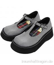OROSUA Mary Jane Schuhe für Damen Mode T-Bar Retro Runde Zehe Schnallenriemen Lederschuhe Japanischer Stil Atmungsaktive Plateauschuhe