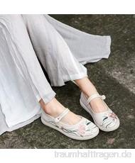 YYYSHOPP Bestickte Schuhe Old Peking Stoffschuhe Original Retro bestickte Schuhe Hanfu Tea Art Kleidung Wild Mary Janes (Farbe: Beige Größe: 5 5)