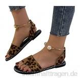 Damen Sandalen Mode Sommer Leopard Schlange Zebradruck Reißverschluss Strandsandalen Flache Schuhe Flip Flops Sommersandalen riou8a
