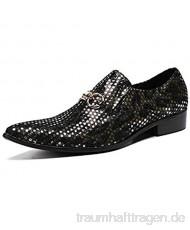 FIESSO Herrenmode Oxford Lässige Hohe Qquality Spitz Persönlichkeit Metall Zubehör Dot Pailletten Formale Schuhe (Color : Schwarz Größe : 46 EU)
